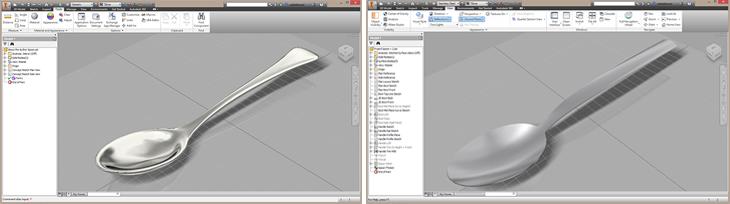 Autodesk Inventor Freeform T-Splines spoon and Autodesk Inventor Surfaced Spoon- Paul Munford
